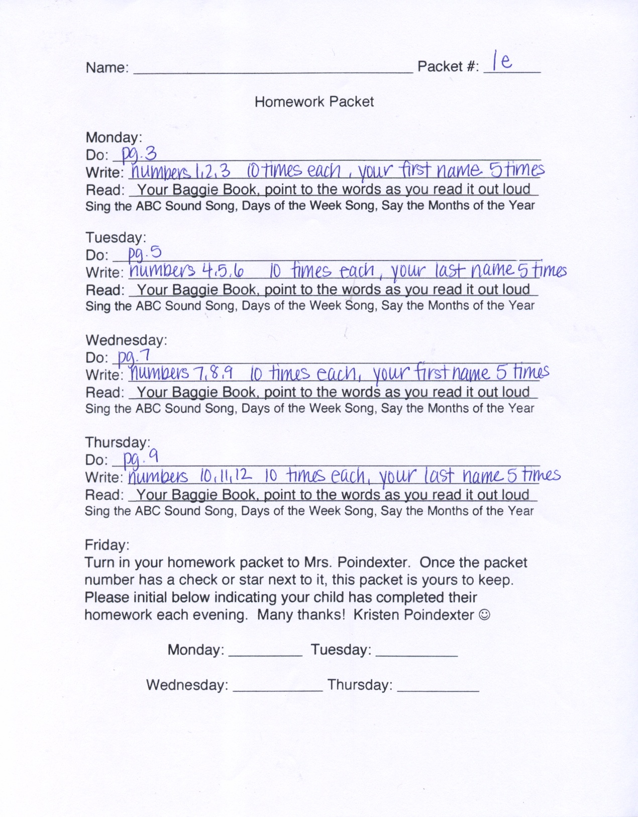New Blog 3: Kindergarten Homework