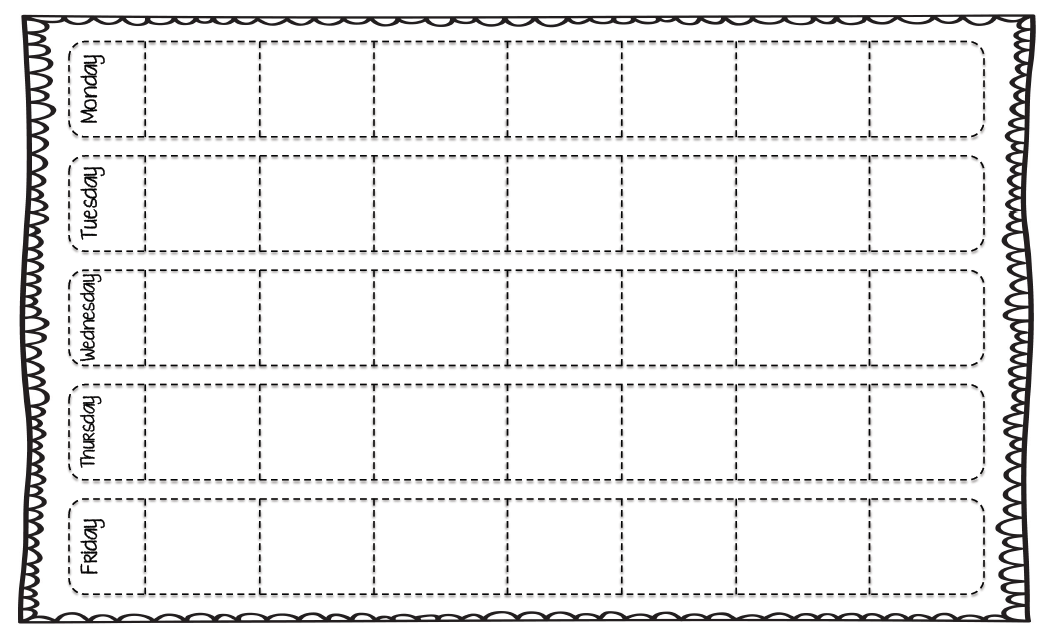 Lesson plan week long grid kristen 39 s kindergarten for Week long lesson plan template