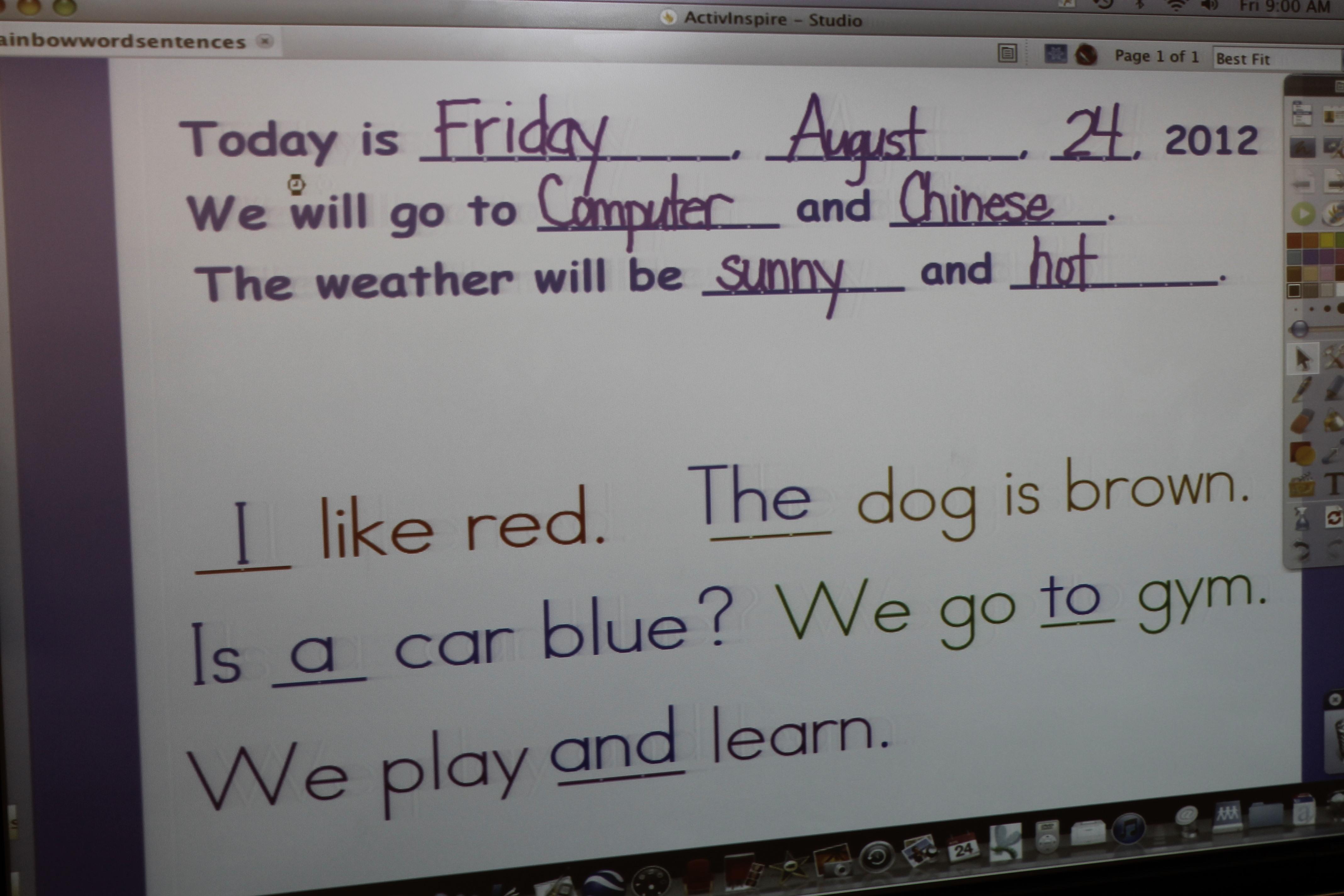 Morning Messages Kristens Kindergarten