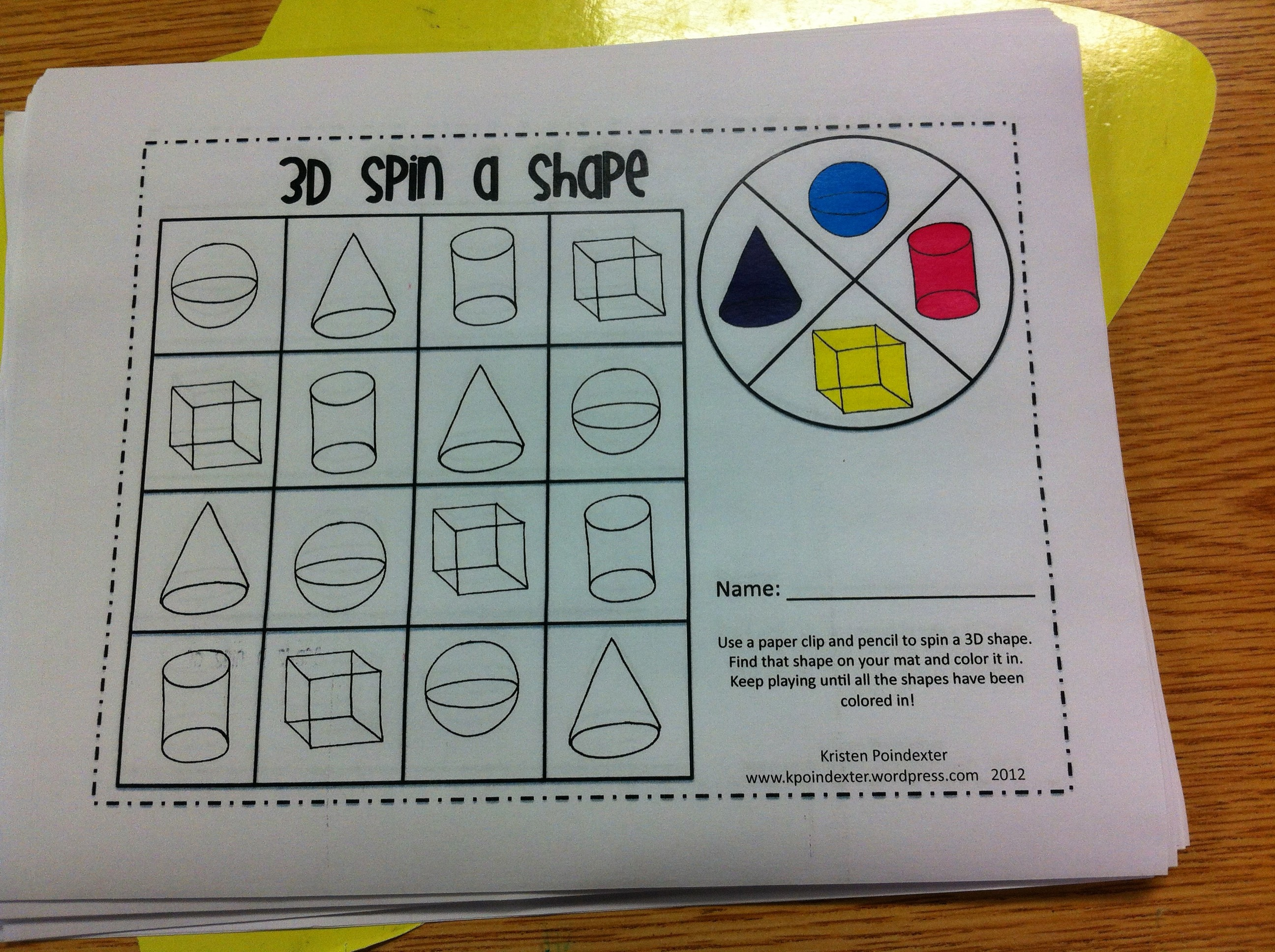 3D Shapes | Kristen\'s Kindergarten
