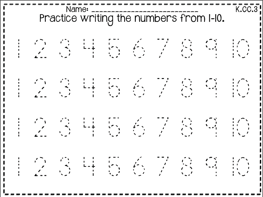 Writing numbers worksheets kindergarten