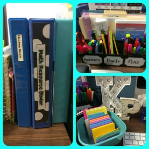 My binders, new pencil/file holder, and my new post-it note organizer!