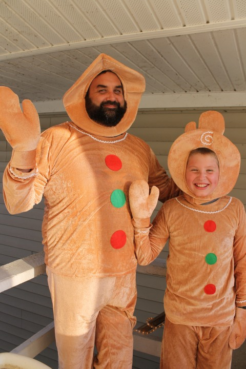 my husband and son had so much fun dressing up as gingerbread people we will use these costumes for halloween and then again during our winter musical